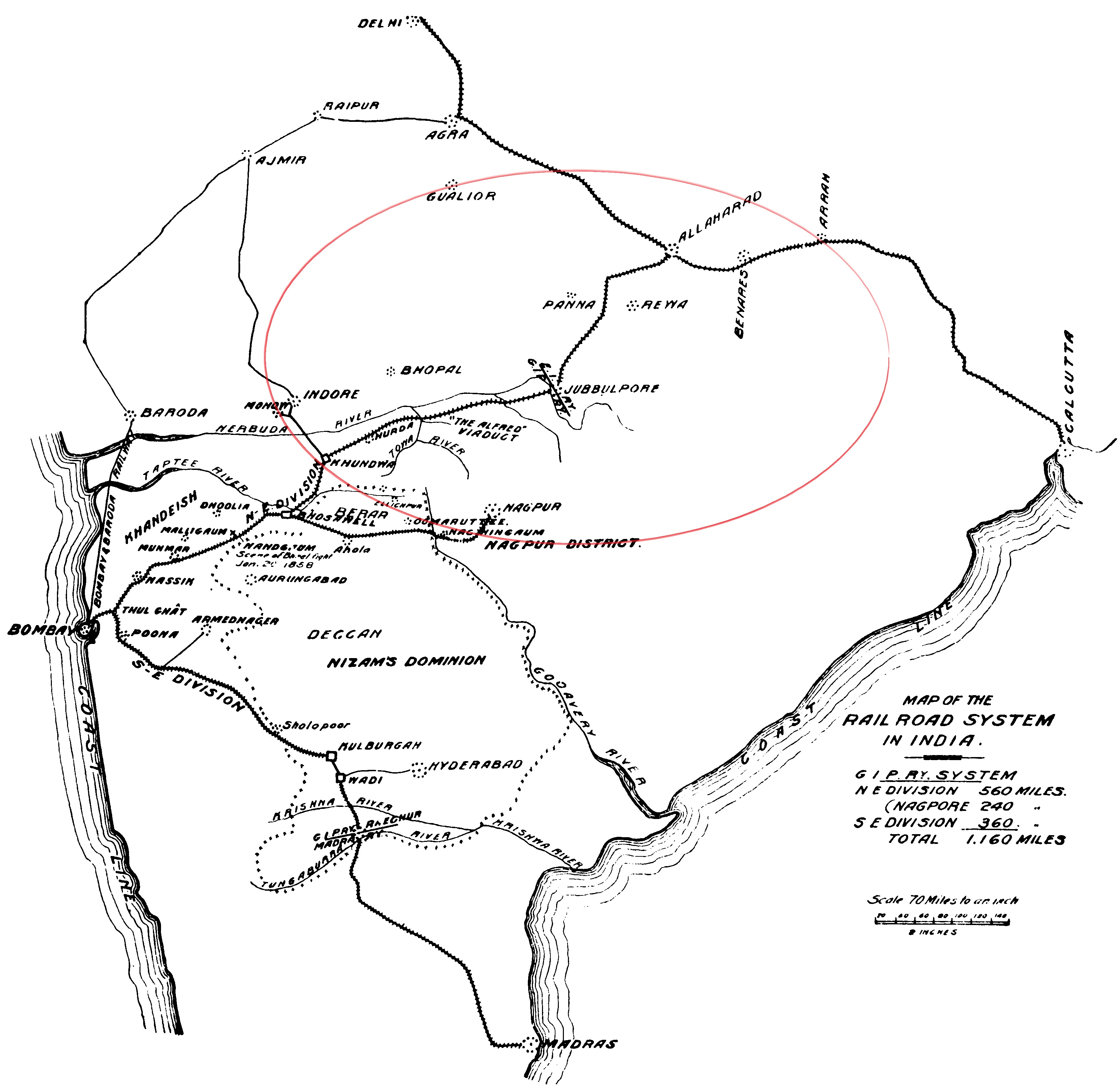 A map of the the railway network connecting East India Railway and Great India Peninsula Railway lines to complete the Bombay-Howrah track