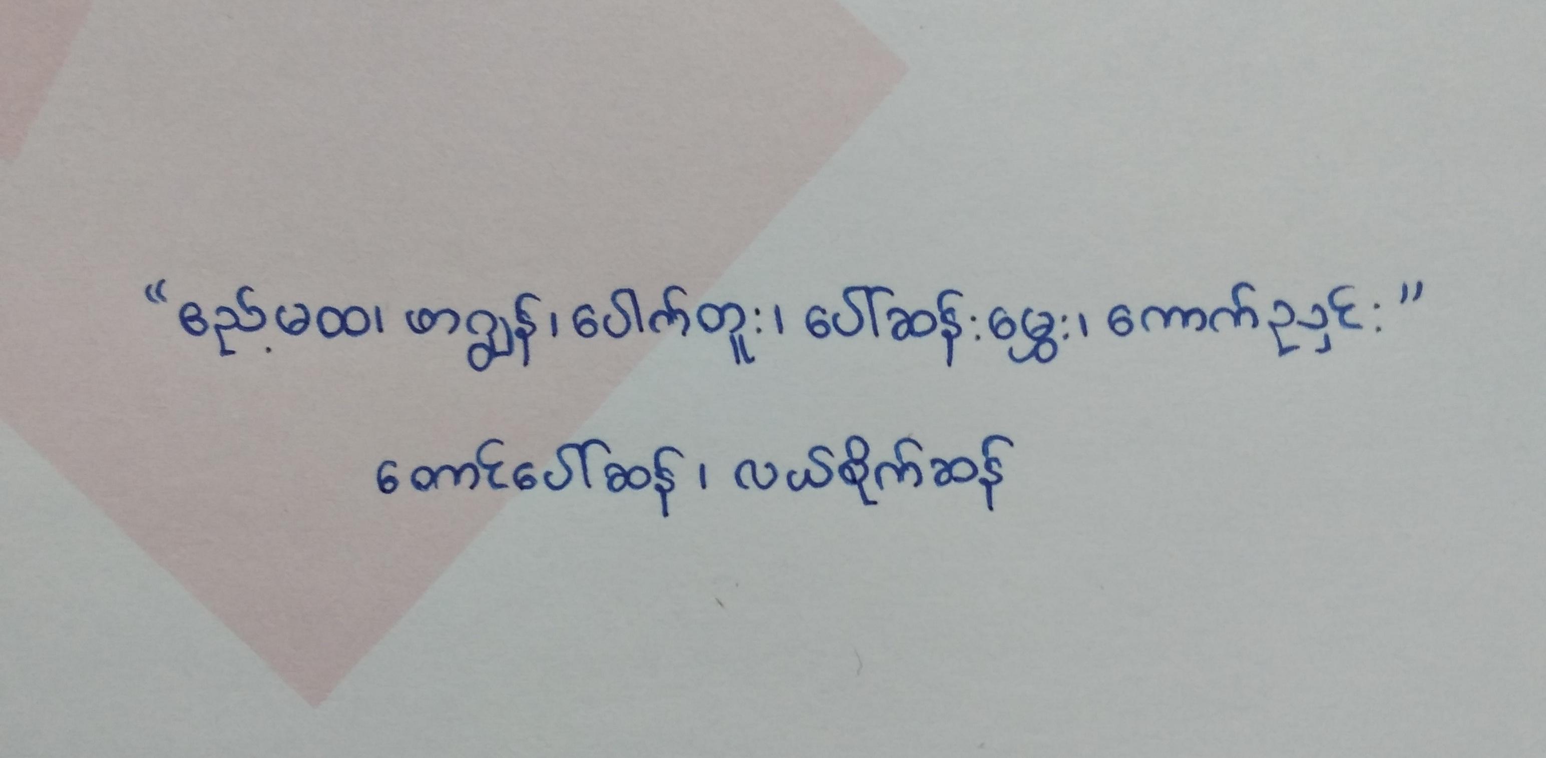 Rice names in Burmese